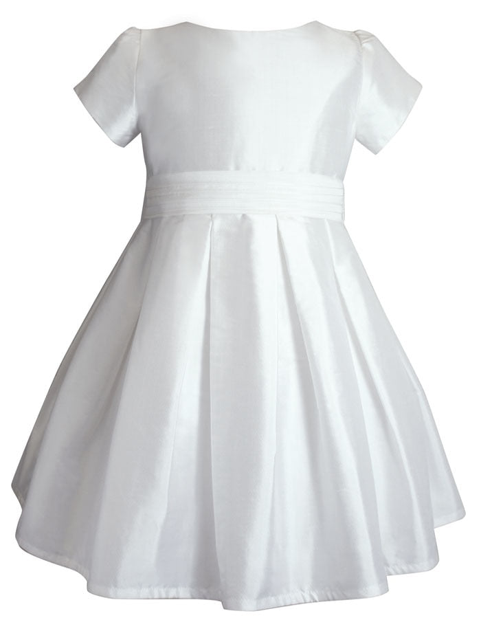 Chic Girls Dress with Pleated Sash Mid-Calf Length