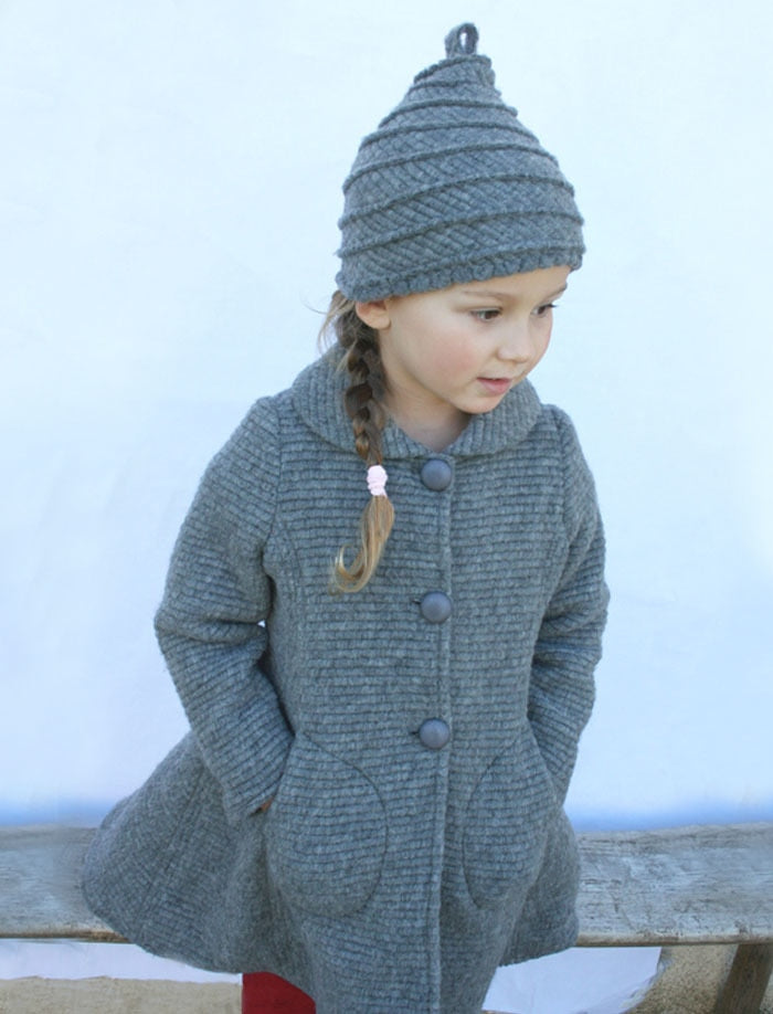 Milan Ribbed Woolen Girls Coat in Grey