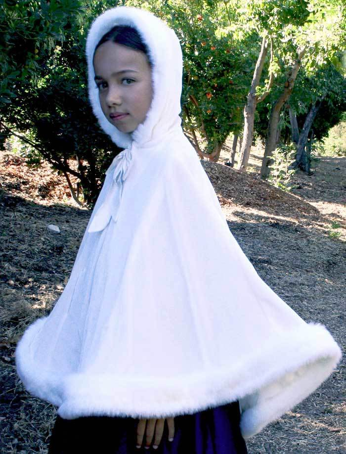 Girls Velvet Hooded Cape in Winter White with Faux Fur Trim