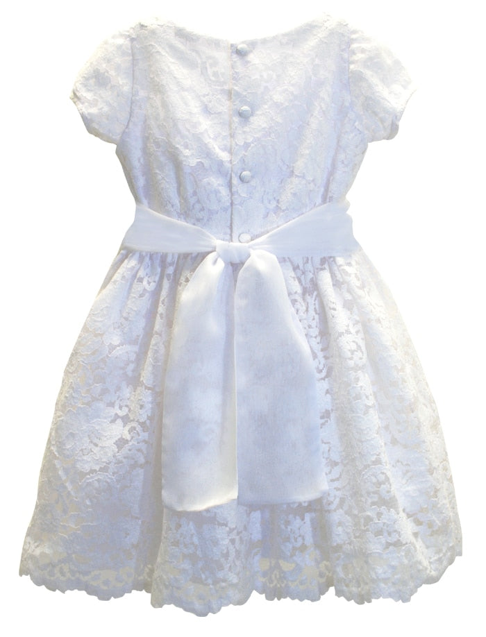 Divine Short Sleeve Corded Floral Lace Girls Dress