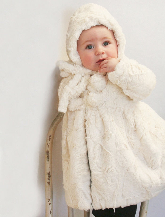 Winter White Faux Fur Baby Coat & Bonnet