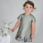 A-line Silver Taffeta Girls Dress with Organza Flowers