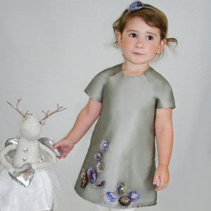 A-line Taffeta Girls Dress with Organza Flowers