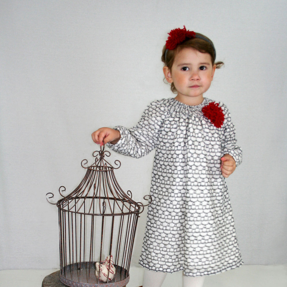 Ivory Knit Hive Baby Dress Long Sleeve