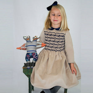 Hand Smocked Full Bodice Girls Dress with Velvet