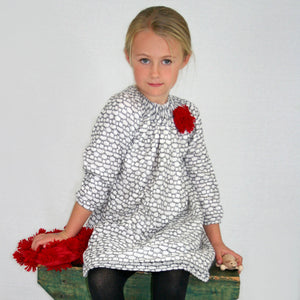 Ivory Knit Hive Girls Dress Long Sleeve