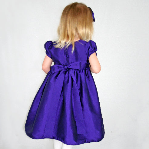 Taffeta Waisted Girls Dress with Organza Flowers Short Sleeve