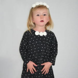 Ivory Pom Pom Baby Dress 3/4 Sleeve