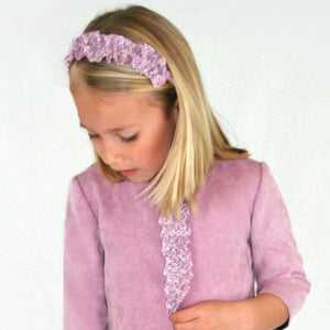 Rose Corduroy Girls Shift with Ruffle 3/4 Sleeve