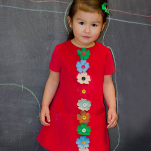 Cap Sleeve Red Corduroy Girls Dress with Flowers