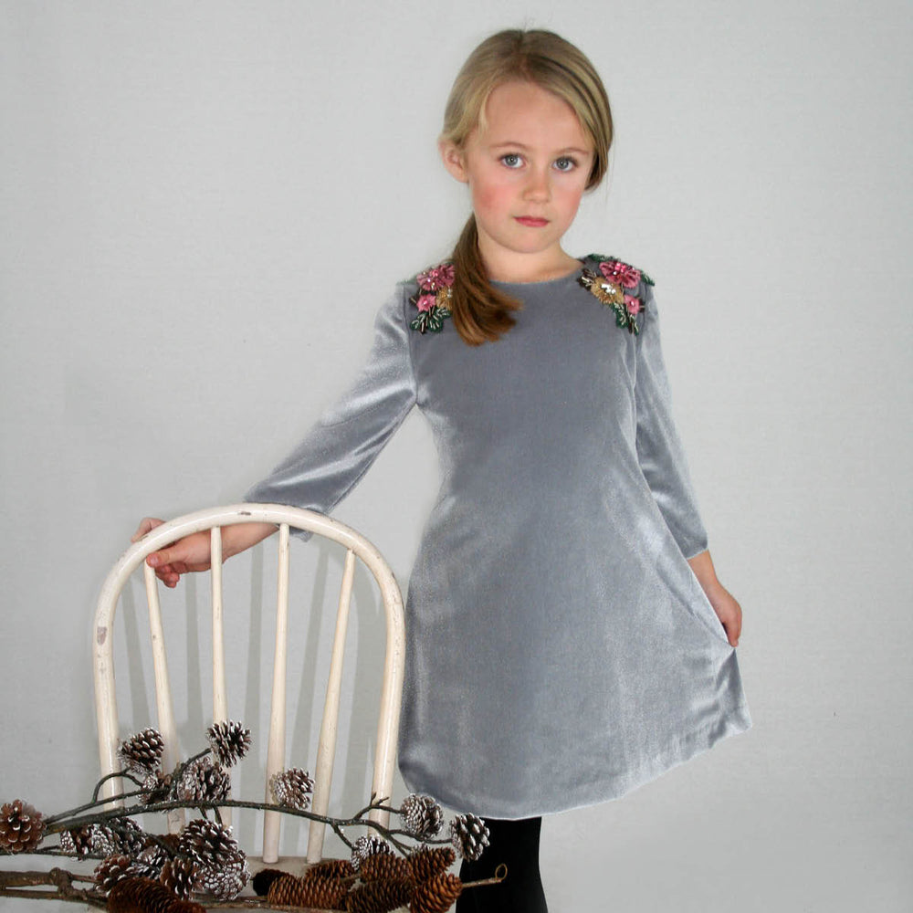 Silver 3/4 Sleeve Beaded & Embroidered Shoulder Applique Velvet Girls Dress