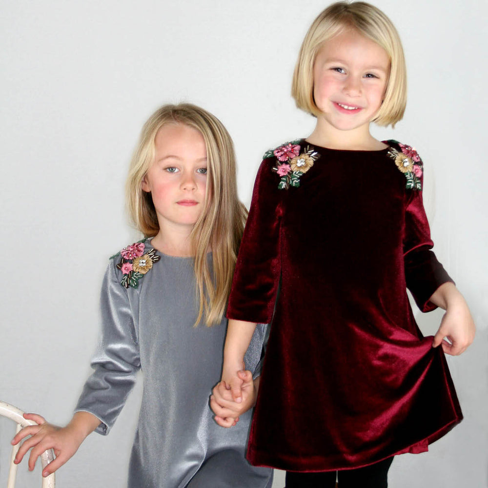 Burgundy 3/4 Sleeve Beaded & Embroidered Shoulder Applique Velvet Girls Dress