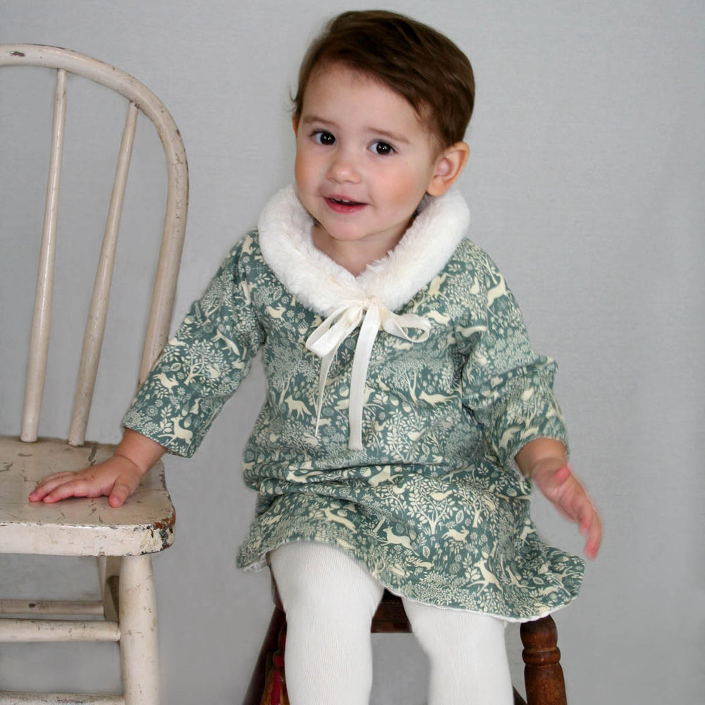 3/4 Sleeve Corduroy Forest Baby Dress with Faux Fur Collar