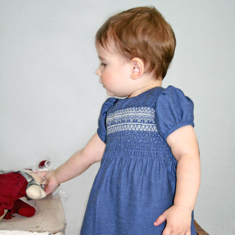 Short Sleeve Blue Smocked Cotton Girls Dress