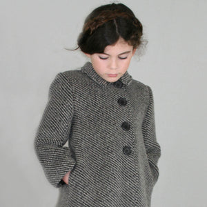 Oslo Woolen Houndstooth Girls Coat & Hat Set