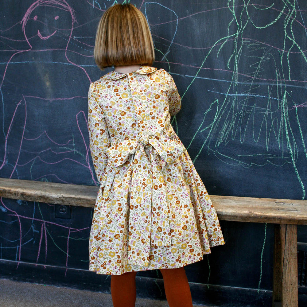 Long Sleeve Hand Smocked Fall Floral Girls Dress