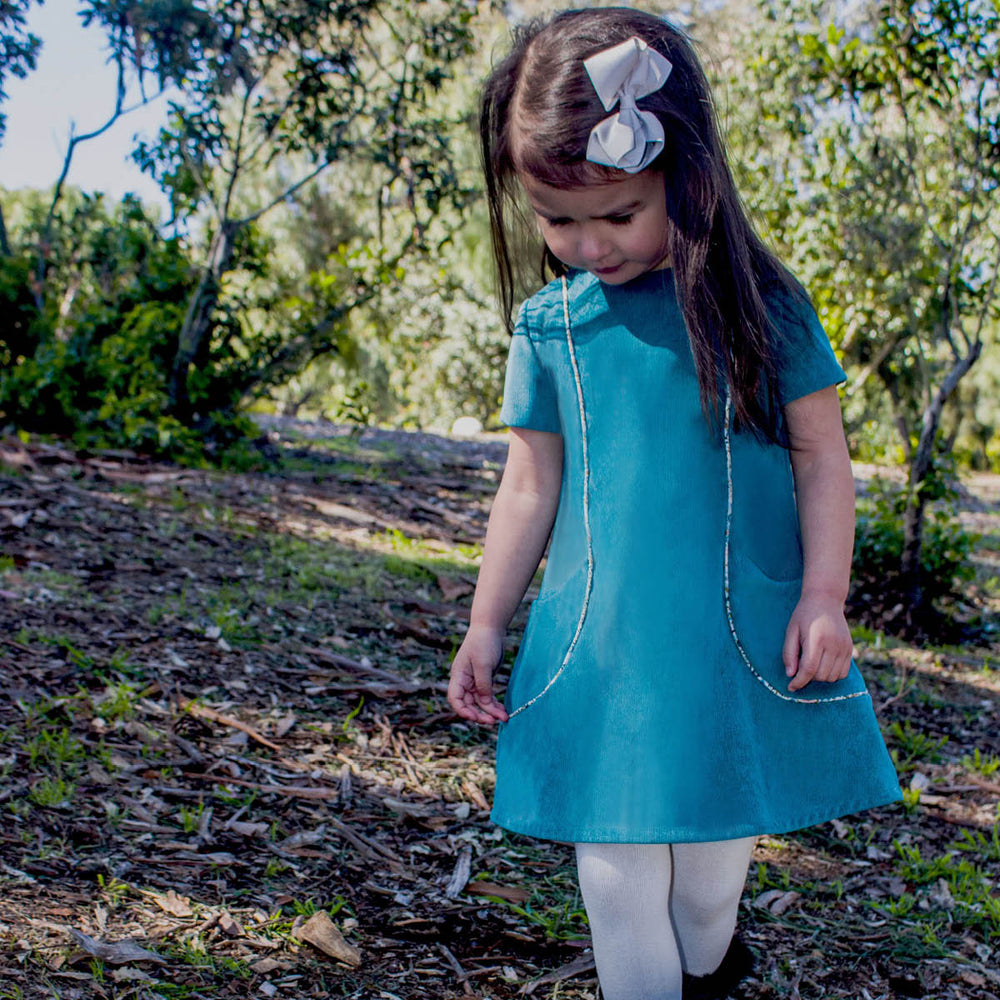 Corduroy Pockets Girls Dress with Piping