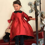 Half Sleeve Ruffle Cuff Girls Holiday Party Dress