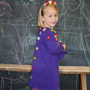 3/4 Sleeve Plum Knit A-Line Girls Dress with Flowers