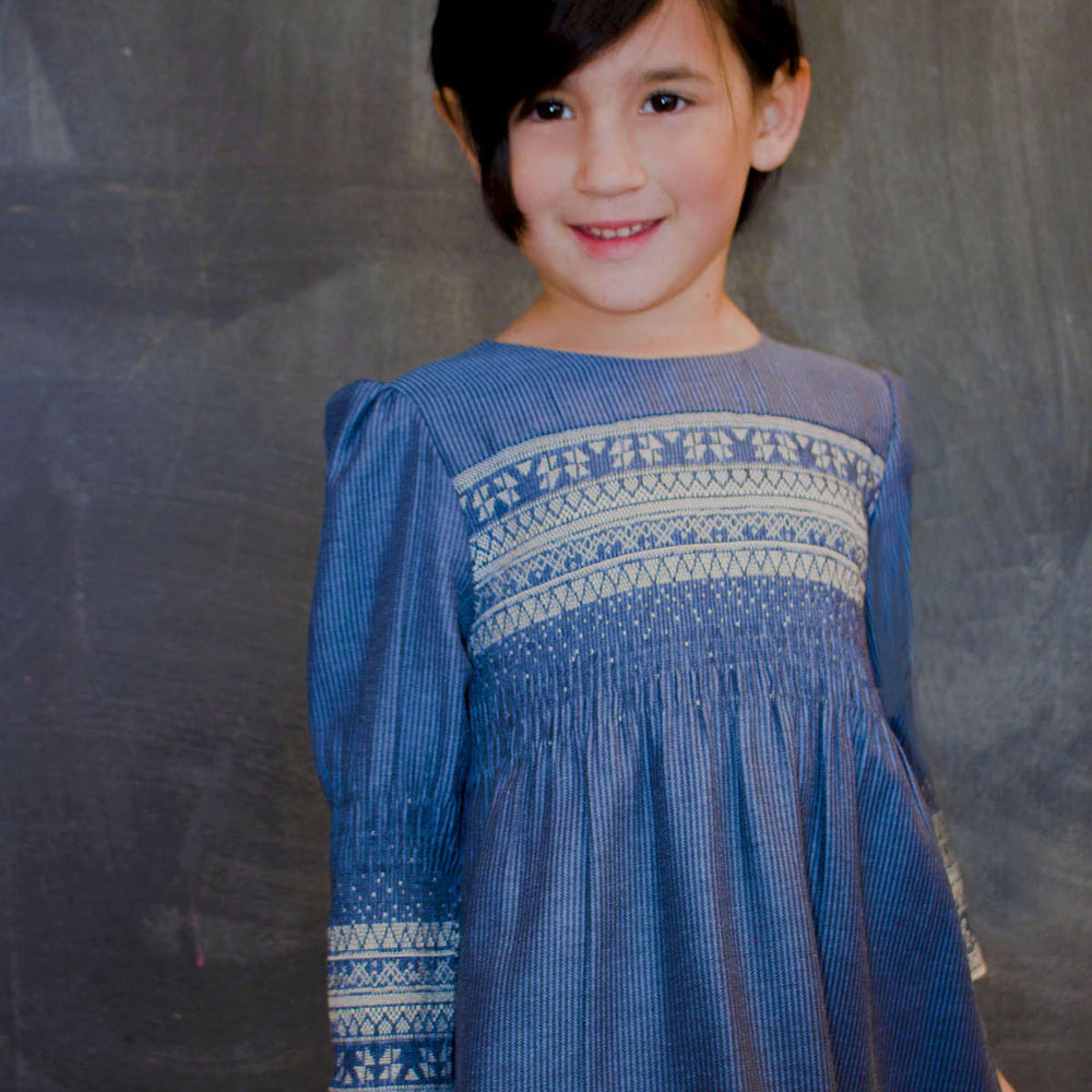 Long Sleeve Blue Smocked Cotton Girls Dress