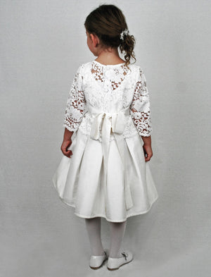 Fable 3/4 Sleeve Removable Lace Top Girls Dress Below Knee Length