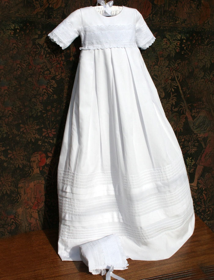 Heritage Cotton Christening Gown with Matching Bonnet