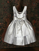 Sleeveless Taffeta Girls Dress with Pintuck Sash