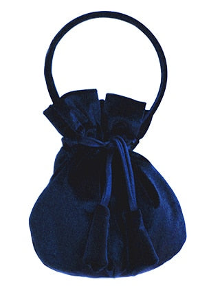 Navy Velvet Girls Handbag