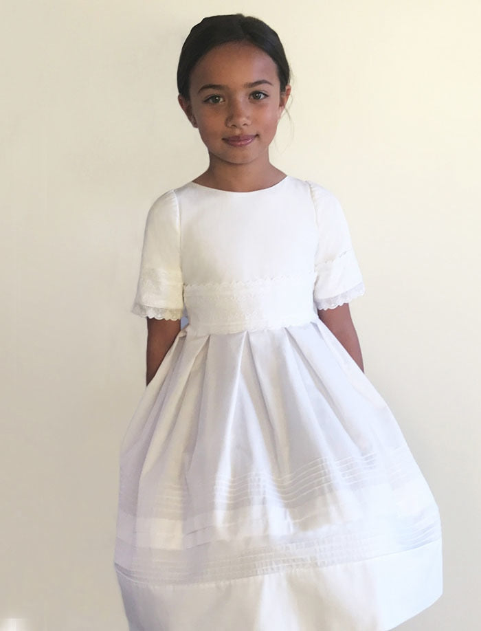 Glory Cotton with Lace and Tucks Girls Dress