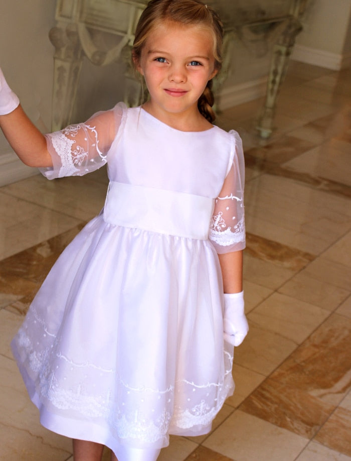 Grace Embroidered Tulle & Taffeta Half Sleeve Girls Dress Below Knee Length