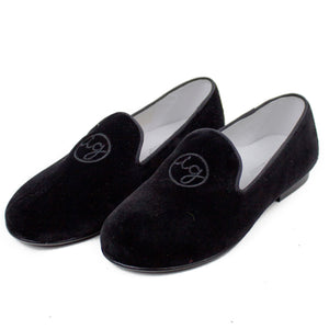 Signature Monogram Isabel Garreton Velvet Girls Loafers