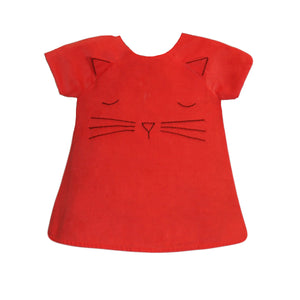 Hand Embroidered Kitty Face Baby Dress