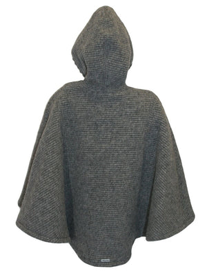 Hooded Ribbed Woolen Long Grey Girls Cape