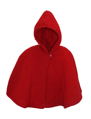 Hooded Ribbed Woolen Long Red Girls Cape