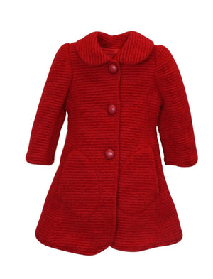 Milan Ribbed Woolen Girls Coat in Red
