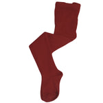 Burgundy Cotton Knit Tights