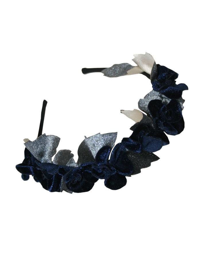 Navy Taffeta Girls Holiday Headband with Velvet Flowers