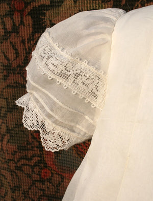 Gracious Christening Gown in Pleated Organdy with Matching Bonnet