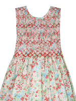 Cotton Floral Hand Smocked Girls Dress