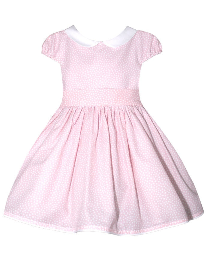 Dots Waisted Girls Dress with Cotton Pique Peter Pan Collar - Below Knee Length