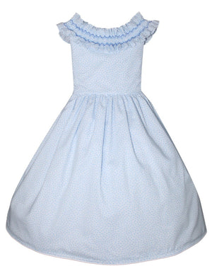 Smocked Ruffle Collar Girls Dress - Mid-Calf Length