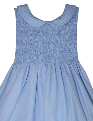 Peter Pan Collar Checkered Smocked Baby Dress