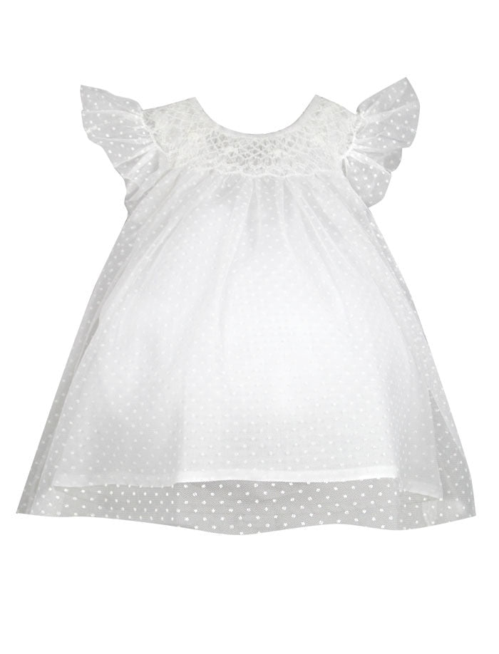 Angelic Swiss Dot Hand Smocked Baby Bishop