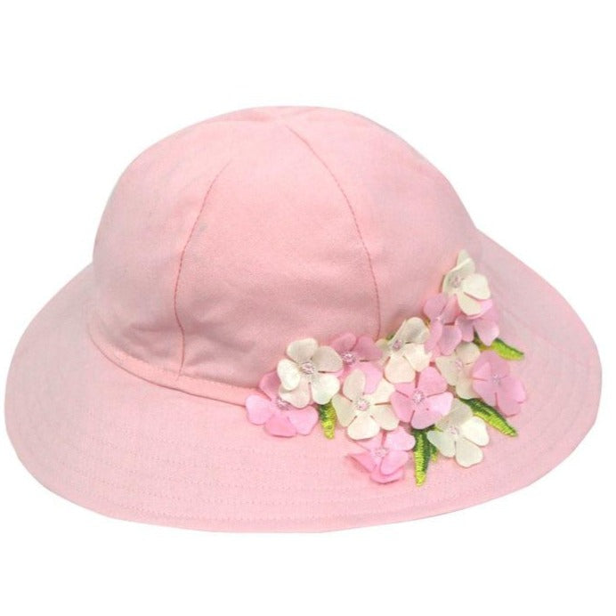 Cotton Sunhat with Hydrangeas