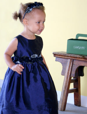 Navy Girls Silk Dress with Rose Sash Detailing