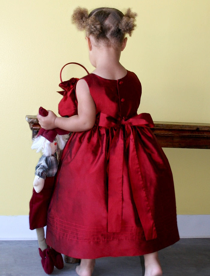 Red Girls Silk Dress with Rose Sash Detailing