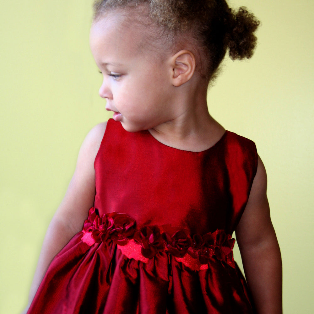Red Baby Dress with Rose Sash Detailing