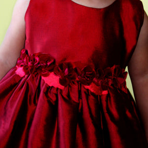 Red Girls Dress with Rose Sash Detailing