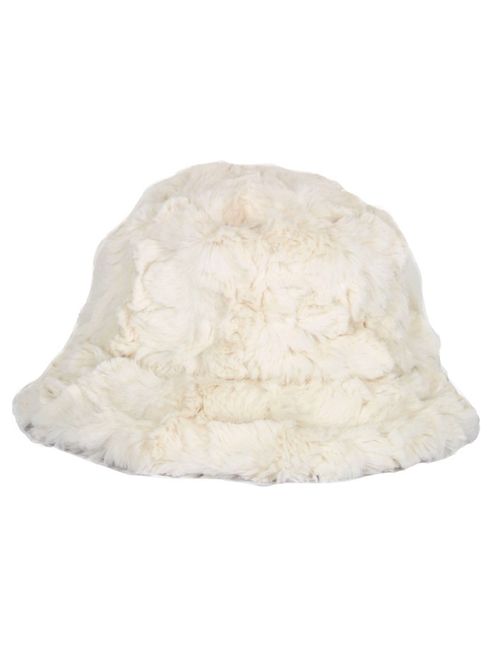 Textured Winter White Faux Fur Bucket Hat