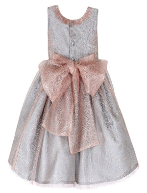 Soft Pink Mesh Big Bow Mid-Calf Girls Holiday Party Dress